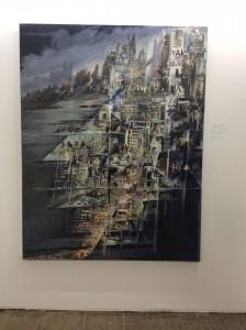 Galina Troizky, Bibliothek, 2015, 180 x 140 cm, Collage/Öl auf Leinwand, 6.600 Euro. (Stand: A 0.04)