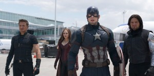 THE FIRST AVENGER - CIVIL WAR Copyright Marvel 2016 L to R: Hawkeye/Clint Barton (Jeremy Renner), Scarlet Witch/Wanda Maximoff (Elizabeth Olsen), Captain America/Steve Rogers (Chris Evans), and Winter Soldier/Bucky Barnes (Sebastian Stan) Photo Credit: Film Frame © Marvel 2016