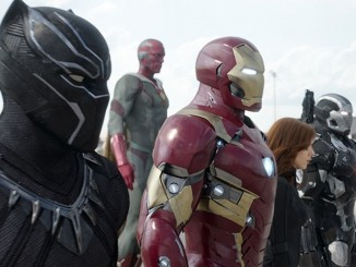 THE FIRST AVENGER - CIVIL WAR Copyright Marvel 2016  L to R: Black Panther/T'Challa (Chadwick Boseman), Vision (Paul Bettany), Iron Man/Tony Stark (Robert Downey Jr.), Black Widow/Natasha Romanoff (Scarlett Johansson), and War Machine/James Rhodey (Don Cheadle).  Photo Credit: Film Frame  © Marvel 2016