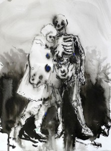 Lady and Death, 32 x 26 cm, 2014, Tusche auf Papier, © Ulrike Theusner, Galerie Dukan Paris Leipzig