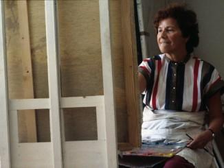 Maria Lassnig, Juni 1983. Foto: Kurt-Michael Westermann / Maria Lassnig Stiftung.