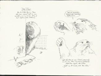 F. K. Waechter, Das Tier, 1978, Tusche/Feder, 35,5 x 49,7 cm. © Wilhelm Busch – Deutsches Museum für Karikatur & Zeichenkunst Museum.